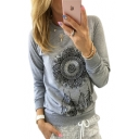 Trendy Floral Feather Printed Round Neck Long Sleeve Sweatshirt