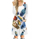 Colorful Feather Printed Long Sleeve Round Neck Midi A-Line Dress