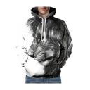 3D Color Block Lion Printed Long Sleeve Leisure Hoodie
