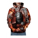3D Tiger Lion Printed Long Sleeve Hoodie for Couple