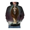 Trendy 3D Lion Printed Long Sleeve Oversize Hoodie