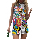 Fancy Geometric Printed Sleeveless Mini Hooded Pencil Dress