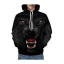 Cool 3D Wolf Printed Long Sleeve Oversize Hoodie