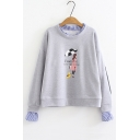 Fake Two Pieces Character Letter Printed Round Neck Long Sleeve Striped Patchwork Trim Sweatshirt
