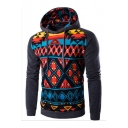 Color Block Geometric Printed Long Sleeve Slim Hoodie