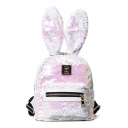 Sequined Embellished Rabbit's Ears Fashion Backpack Bag