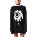 Cool Eyeball Printed Round Neck Long Sleeve Tunic Sweatshirt