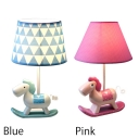 Single Light Rocking Horse Table Lamp Baby Kids Room Blue/Pink Fabric Shade Standing Table Light