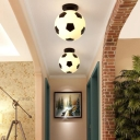 Sport Theme Football Flushmount Corridor Boys Room Plastic Single Light Ceiling Light in Black