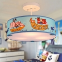 Drum 3 Light Semi Flush Light with Pirate Ship Nautical Boys Room Blue Acrylic Semi Ceiling Chandelier