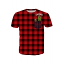 Dinosaur Character Letter Printed Round Neck Short Sleeve Plaid Tee