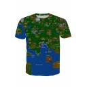 Digital Map Printed Round Neck Short Sleeve Tee