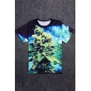 Magical Tree Printed Round Neck Short Sleeve Tee
