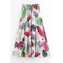 New Stylish Leaf Print Drawstring Waist Maxi Boho Skirt
