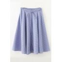 Fashion Bow Tie Front Elastic Waist Plaid A-Line Skirt