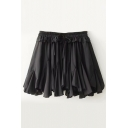 New Stylish Plain Ruffle Hem Elastic Waist Culottes