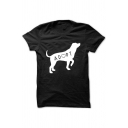 ADOPT Letter Dog Printed Round Neck Short Sleeve Tee