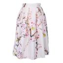 Floral Printed Elastic Waist Midi A-Line Pleated Skirt