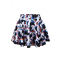 Unicorn Rainbow Printed Elastic Waist Mini A-Line Skirt