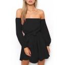 Tie Waist Off The Shoulder Plain Long Sleeve Mini A-Line Dress
