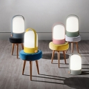1 Head Bullet Shade Table Lamp Nordic Style Colorful Bedroom Bedside Opal Glass Reading Light