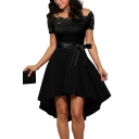Off The Shoulder Lace Insert Short Sleeve Bow Tie Waist Midi Asymmetric Dress