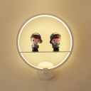 Acrylic Shade Wall Light with Lovely Couples in Metal Base