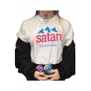 SATAN Letter Graphic Printed Round Neck Short Sleeve Tee