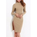 High Neck Long Sleeve Plain Buttons Embellished Split Side Plain Midi Penci Dress