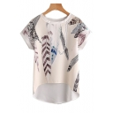Feather Printed Round Neck Short Sleeve Dip Hem Blouse
