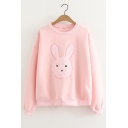 Rabbit Embroidered Round Neck Long Sleeve Sweatshirt