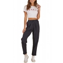 High Waist Striped Printed Leisure Contrast Braid Patched Pants