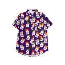 Cigarette Coconut Tree Printed Lapel Collar Short Sleeve Button Down Shirt