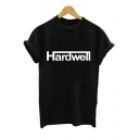 HARD WELL Letter Printed Round Neck Short Sleeve Tee