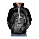 Popular 3D Lion Printed Long Sleeve Unisex Hoodie