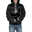 Stylish Wolf Printed Long Sleeve Casual Hoodie