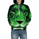 Popular Digital Lion Printed Long Sleeve Loose Hoodie