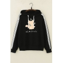 Japanese Cat Printed Color Block Long Sleeve Loose Hoodie