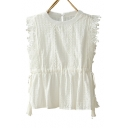 Round Neck Sleeveless Hollow Out Detail Tassel Embellished Blouse