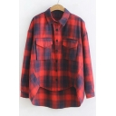 Classic Plaid Printed Lapel Collar Long Sleeve Button Down Dip Hem Shirt