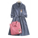 Striped Printed Owl Embroidered Lapel Collar Long Sleeve Midi A-Line Dress