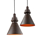 Heritage Bronze Finish Restoration Style 1 Light Hanging Lighting with Conical Shade