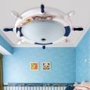 Round Rudder 1 Head Flushmount Nautical Style Children White and Blue Glass Flush Light