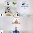 Mediterranean Shaded 1 Light Table Lighting Blue Fabric Table Light for Children Room