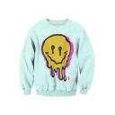 3D Melting Smile Face Printed Round Neck Long Sleeve Sweatshirt