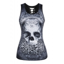 Hollow Out Back Skull Floral Printed Round Neck Sleeveless Tank