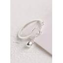 Cat Pattern Pendant Embellished Silver Resizable Ring