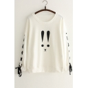 Lace Up Embellished Long Sleeve Rabbit Printed Round Neck Sweatshirt