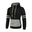 Leisure Contrast Striped Printed Long Sleeve Hoodie with Pocket