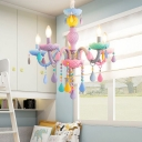 Kid Chandelier Modern Ceiling Chandelier Candle Style Foyer Chandelier with Pink Crystal Heart